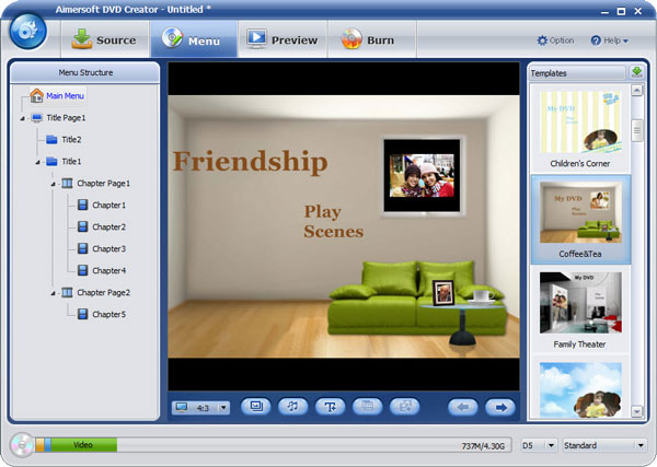 aimersoft dvd creator menu